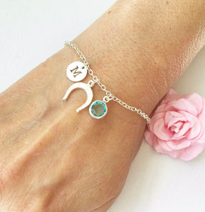 Horseshoe round initial and birthstone custom bracelet - Statement Made Jewellery
