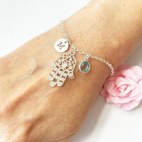 Hamsa hand round initial and birthstone custom bracelet - Statement Made Jewellery