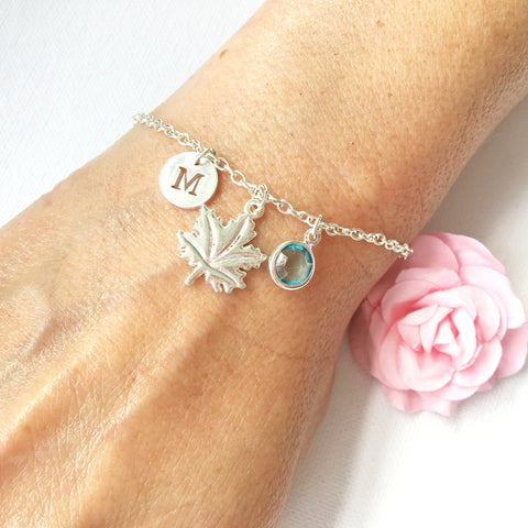 Maple leaf round initial and birthstone custom bracelet - Statement Made Jewellery