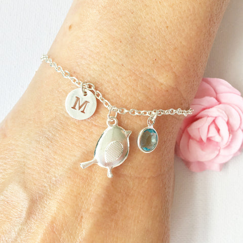 Bird round initial and birthstone custom bracelet - Statement Made Jewellery