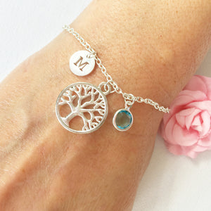 Tree round initial and birthstone custom bracelet - Statement Made Jewellery
