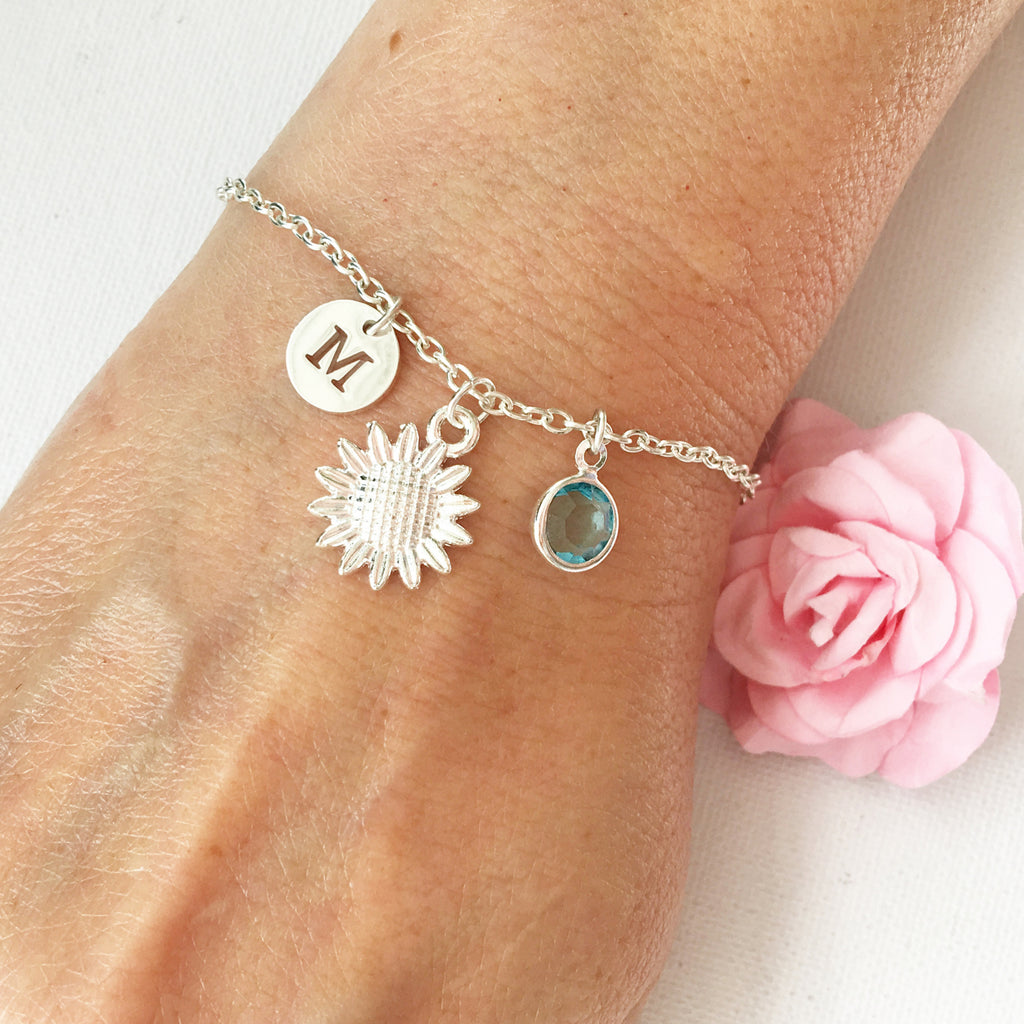 Sunflower round initial and birthstone custom bracelet - Statement Made Jewellery