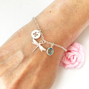 Dragonfly round initial and birthstone custom bracelet - Statement Made Jewellery