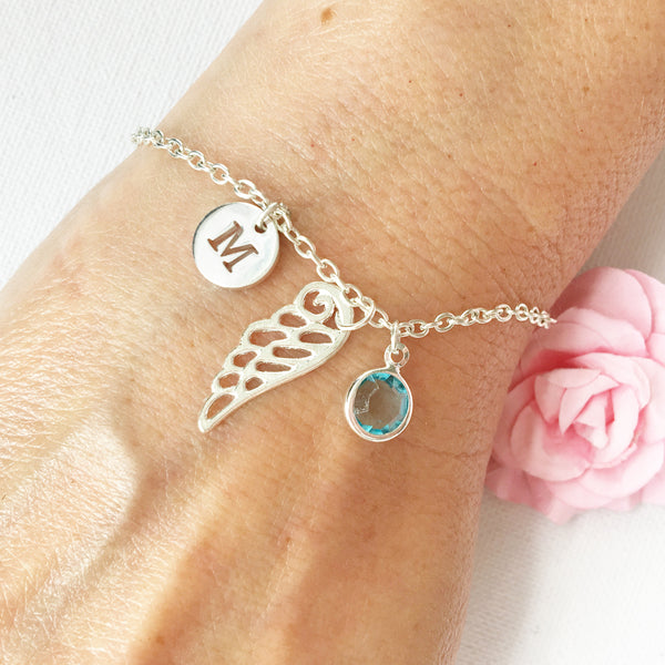 Hollow angel wing round initial and birthstone custom bracelet - Statement Made Jewellery