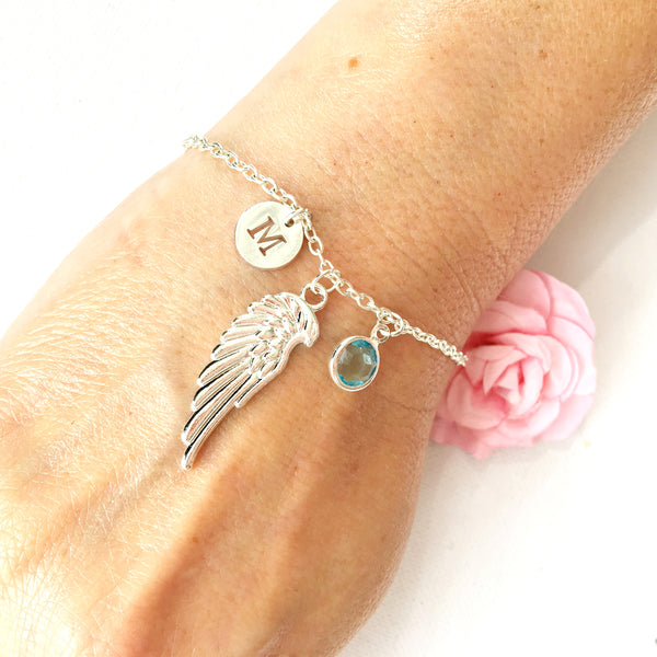 Silver angel wing round initial and birthstone custom bracelet - Statement Made Jewellery