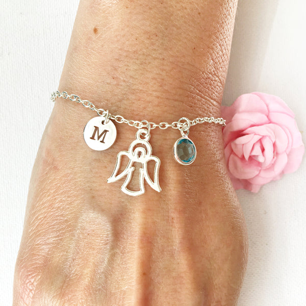 Guardian angel round initial and birthstone custom bracelet