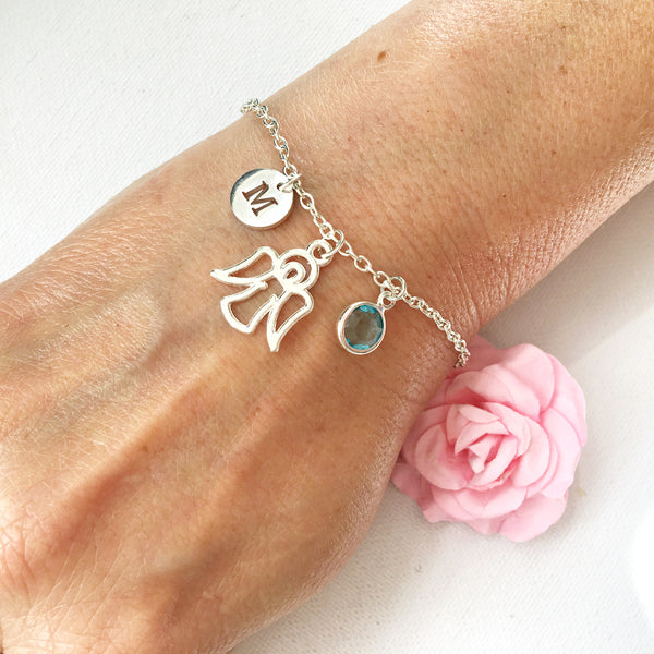 Guardian angel round initial and birthstone custom bracelet - Statement Made Jewellery