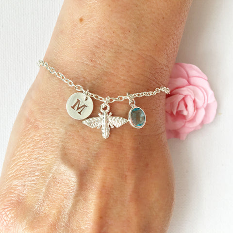 Bumble bee round initial and birthstone custom bracelet - Statement Made Jewellery