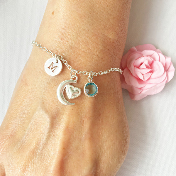 Heart and moon round initial and birthstone custom bracelet - Statement Made Jewellery