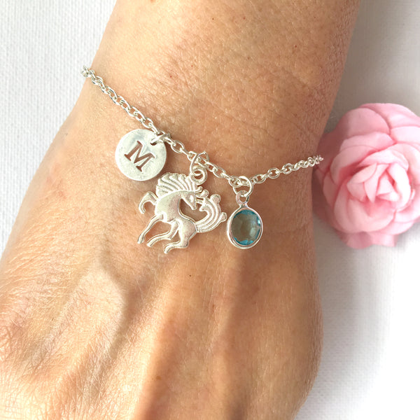 Unicorn round initial and birthstone custom bracelet - Statement Made Jewellery