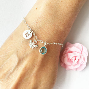 Bee round initial and birthstone custom bracelet - Statement Made Jewellery