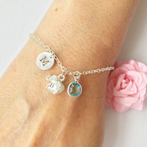 Small Elephant round initial and birthstone custom bracelet - Statement Made Jewellery
