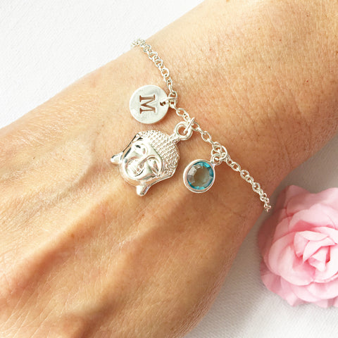 Buddha round initial and birthstone custom bracelet - Statement Made Jewellery