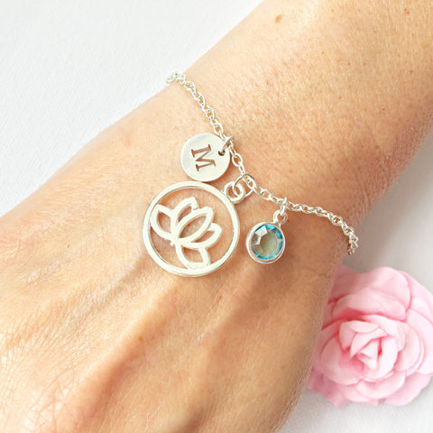 Lotus flower round initial and birthstone custom bracelet - Statement Made Jewellery