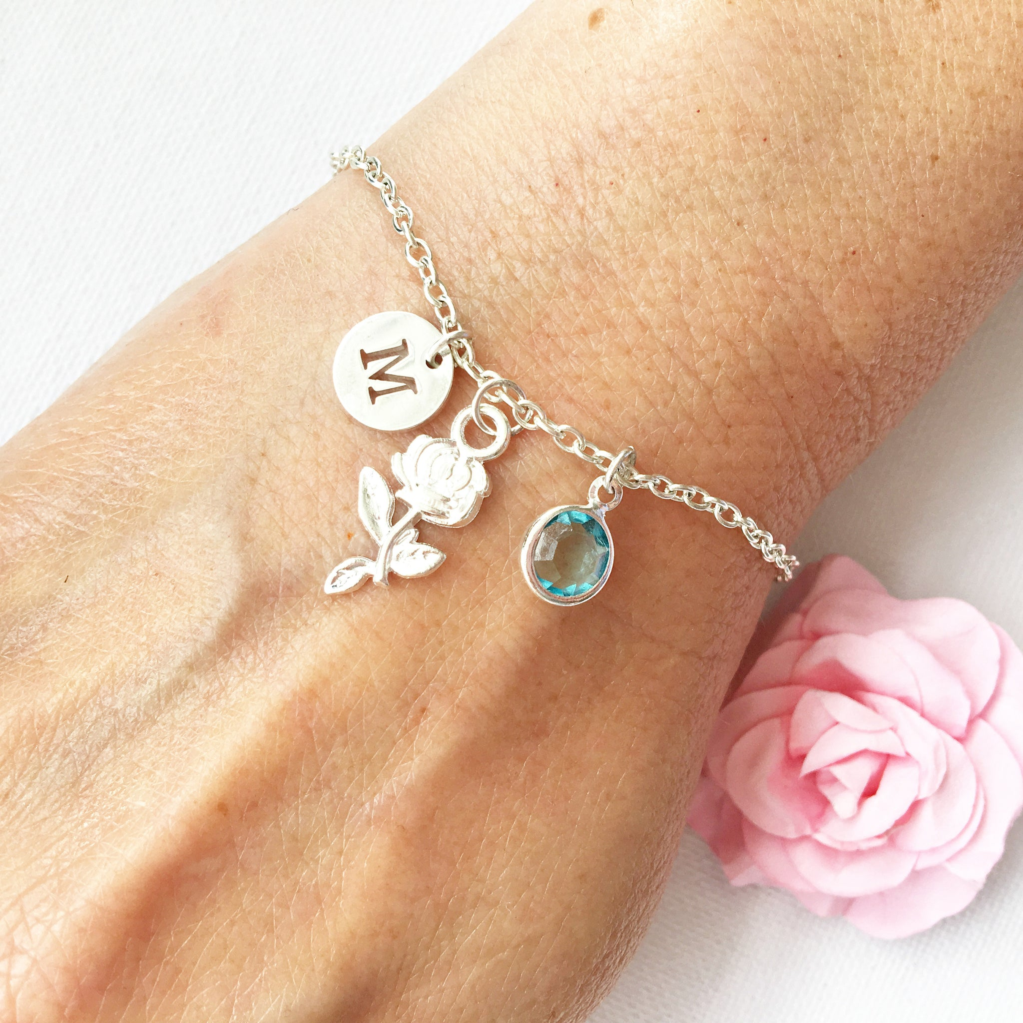 Rose flower round initial and birthstone custom bracelet - Statement Made Jewellery