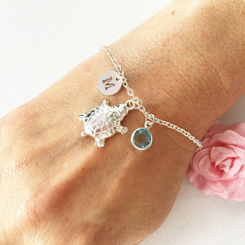 Turtle round initial and birthstone custom bracelet - Statement Made Jewellery