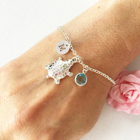 Image of Turtle round initial and birthstone custom bracelet - Statement Made Jewellery