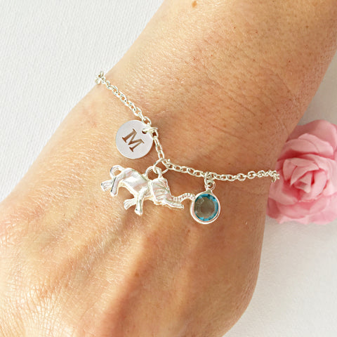 Happy Elephant round initial and birthstone custom bracelet - Statement Made Jewellery