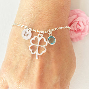 Large Shamrock round initial and birthstone custom bracelet - Statement Made Jewellery