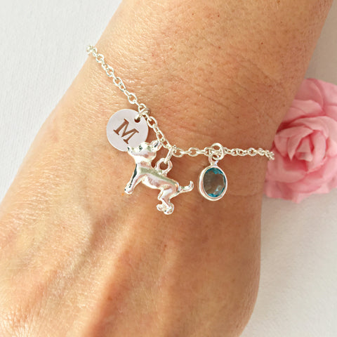 Dog round initial and birthstone custom bracelet - Statement Made Jewellery