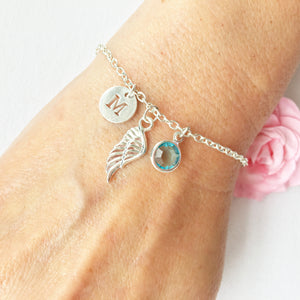 Textured Angel wing round initial and birthstone custom bracelet - Statement Made Jewellery