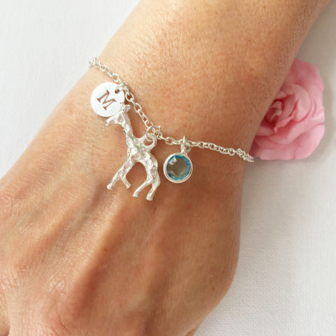 Giraffe round initial and birthstone custom bracelet - Statement Made Jewellery