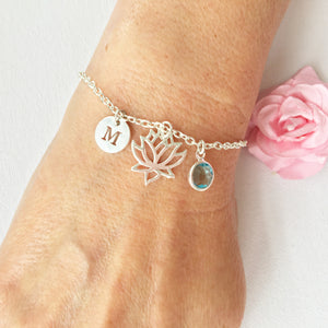 Cut-out Lotus flower round initial and birthstone custom bracelet - Statement Made Jewellery