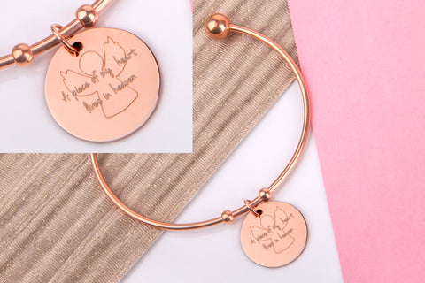 A piece of my heart lives in heaven bangle rose gold engraved message personalised Bangle - Statement Made Jewellery