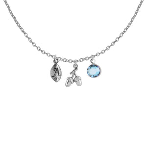 Tibetan silver Personalised nuts acorn leaf initial and birthstone necklace - Statement Made Jewellery