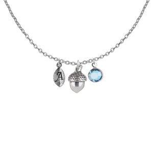 Tibetan silver Personalised acorn disc initial and birthstone necklace - Statement Made Jewellery