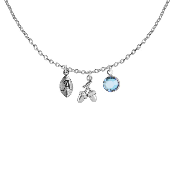 Tibetan silver Personalised Acorn leaf initial and birthstone necklace - Statement Made Jewellery