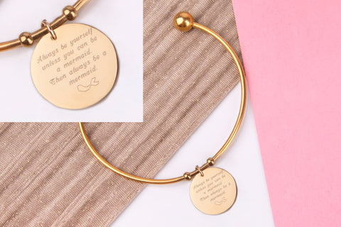Be a flamingo in a flock of pigeons gold engraved message personalised Bangle - Statement Made Jewellery