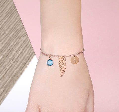 Angel wing rose gold bracelet with birthstone and initial - Angel jewellery | Statement Made Jewellery - Statement Made Jewellery