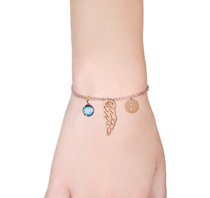Angel wing rose gold bracelet with birthstone and initial - Angel jewellery - Statement Made Jewellery