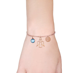 Guardian angel rose gold bracelet with birthstone and initial - miscarriage jewellery - Statement Made Jewellery