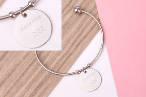 Aquarius Stainless steel engraved message personalised Bangle - Statement Made Jewellery