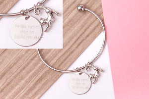 Cat Stainless steel engraved message personalised Bangle - Statement Made Jewellery