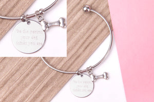 dog puppy Stainless steel engraved message personalised Bangle - Statement Made Jewellery