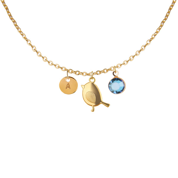 Gold baby bird charm and round initial and birthday birthstone necklace - Statement Made Jewellery