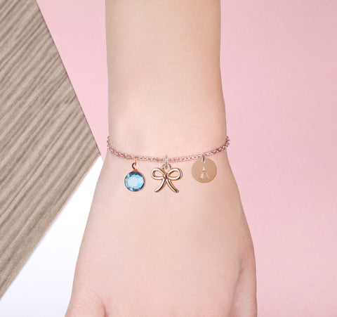 Bow rose gold bracelet with birthstone and initial - tie the knot jewellery | Statement Made Jewellery