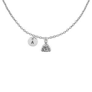 Personalised small buddha with round initial initial handmade customised necklace - Statement Made Jewellery