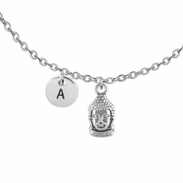 Personalised buddha head with round initial initial handmade customised necklace - Statement Made Jewellery