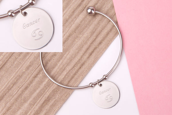 Cancer Stainless steel engraved message personalised Bangle - Statement Made Jewellery