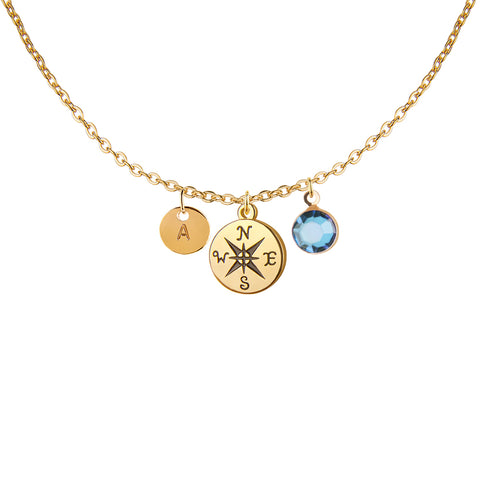 Gold compass charm and round initial and birthday birthstone necklace - Statement Made Jewellery
