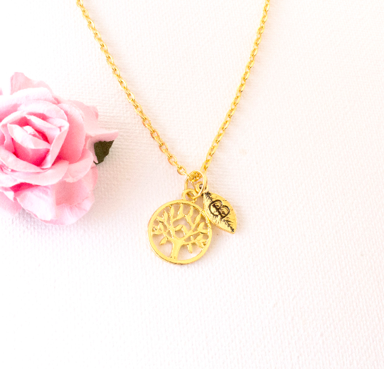 Gold tree of life and leaf initial necklace - Statement Made Jewellery