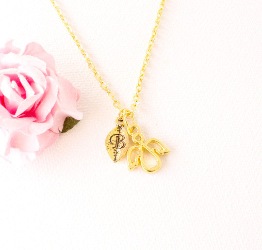 Gold angel and leaf initial necklace - Statement Made Jewellery