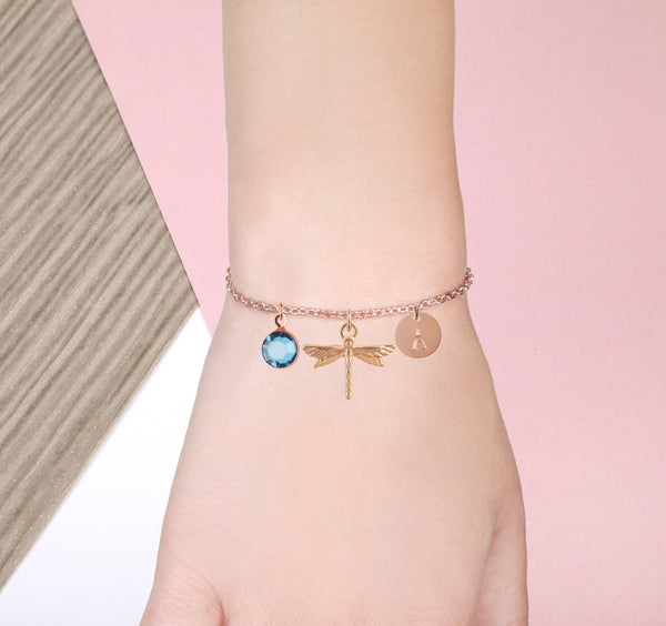 Dragonfly rose gold bracelet with birthstone and initial - Dragonfly jewellery - Statement Made Jewellery
