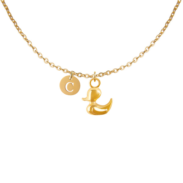 Gold duck duckling charm and round cut out initial necklace - Statement Made Jewellery