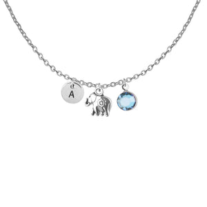 Tibetan silver Personalised elephant charm and initial and birthstone necklace - Statement Made Jewellery