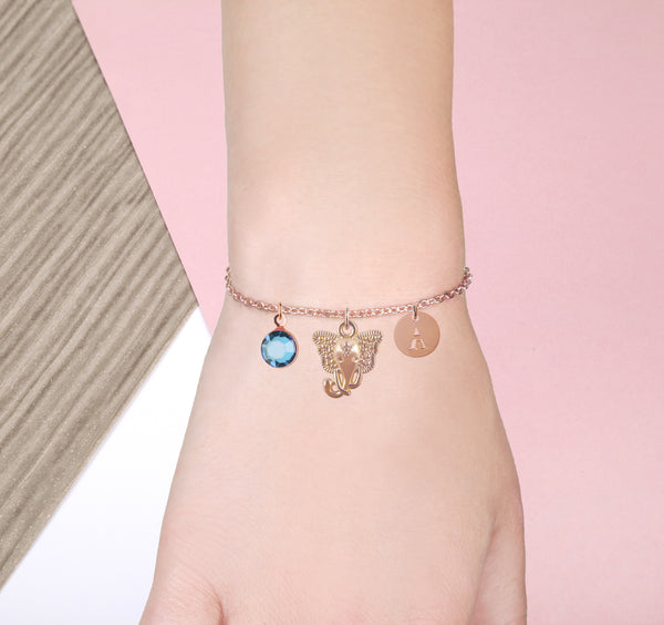 elephant rose gold bracelet with birthstone and initial - elephant jewellery - Statement Made Jewellery